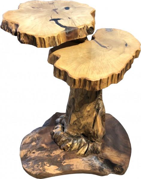 Zweiblatt Lounge Tisch Massivholz Unikat