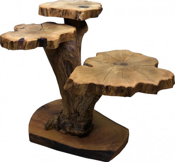 Dreiblatt Lounge Tisch Massivholz Unikat