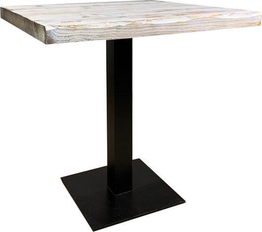 """Tischkombination """"Ladin"""" Echtholz grau weiß mit Baumkante 72H"""