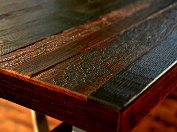 Weinfässer Tischplatte - Weinrot geölt