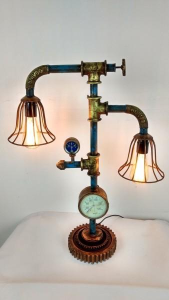 """Tisch-Lampe Leuchte Pipe Steampunk Industrial Industrie Design Retro Vintage Art """"Vintage Light"""""""