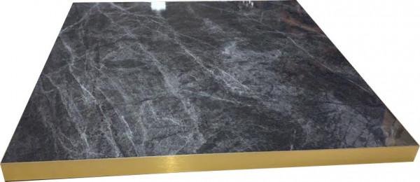 Tischplatte HPL 38mm Goldkante Marmor-Optik Dark Marble
