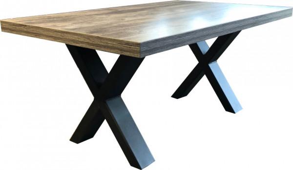 Tischkombination Lounge Vintage X-Fuß HPL-Tischplatte