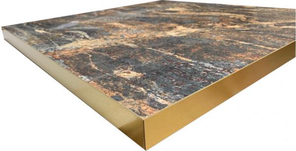 Tischplatte HPL 38mm Goldkante Marmor-Optik Marble Space