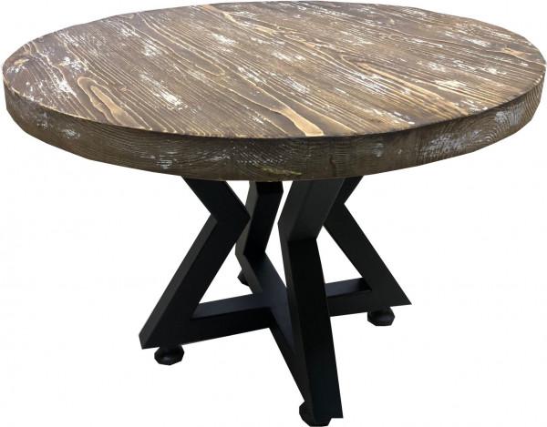 Tischkombination Ladin Fichte Echtholz mit Baumkante braun weiß Lounge-rund