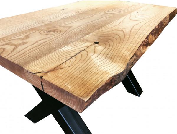 Tischplatte Massivholz - Esche mit Baumkante 50mm Unikat