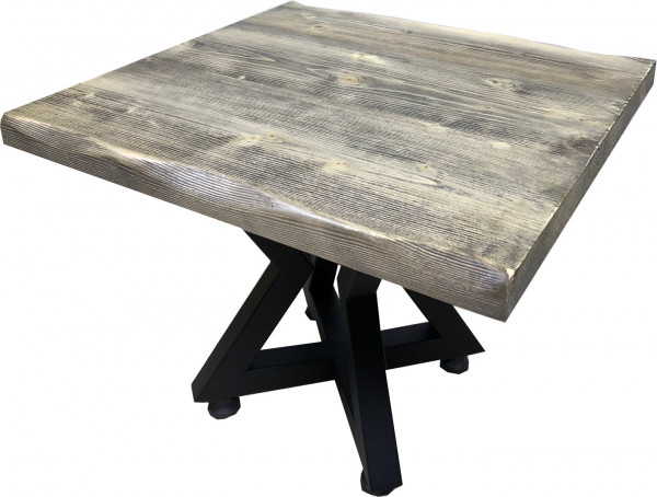 Tischkombination Ladin Fichte Echtholz mit Baumkante schwarz creme Lounge