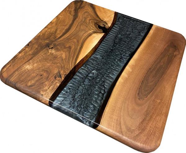 "Tischplatte Epoxidharz ""CNC-Metallic grau"" Unikate Walnuss Massivholz"