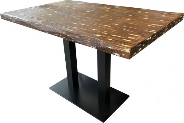 Tischkombination Ladin Echtholz mit Baumkante braun weiß 120x75cm