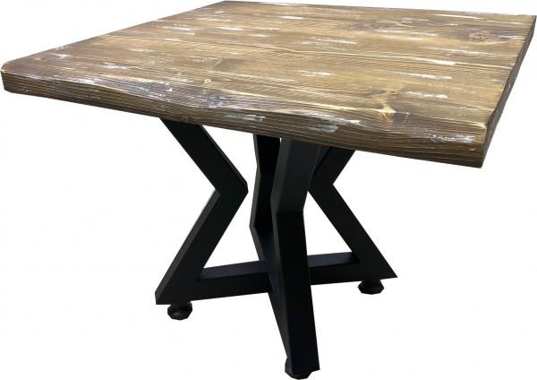 Tischkombination Ladin Fichte Echtholz mit Baumkante braun weiß Lounge Star