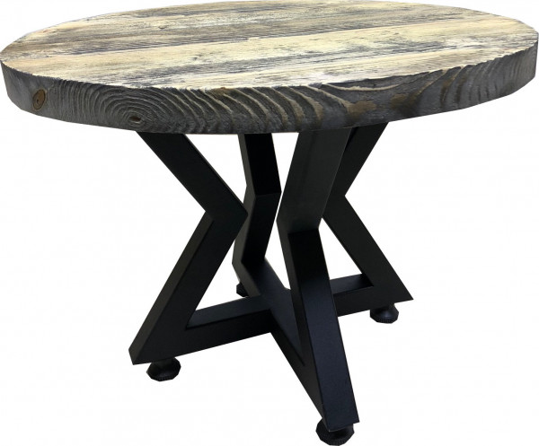 Tischkombination Ladin Fichte Echtholz mit Baumkante schwarz creme Lounge-rund