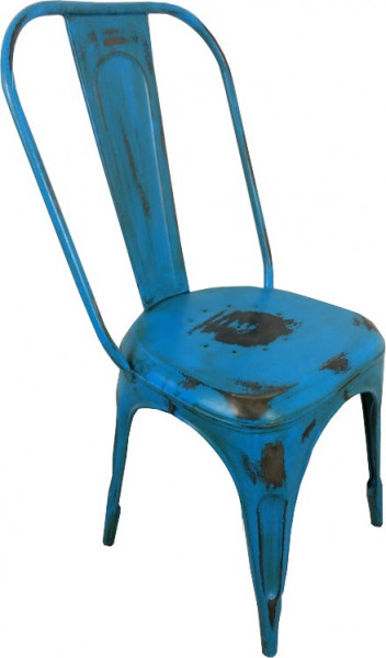 OUTLET Bistro-Stuhl Esszimmerstuhl Stapelbar Metall Retro Vintage Loft Chair Farbe blau