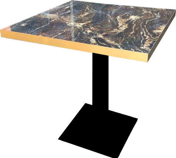 Tischkombination HPL Goldkante Marmor-Optik Marble Space mit Flach04040