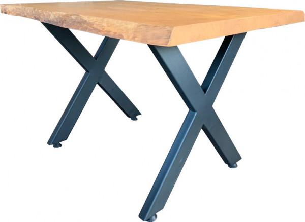 Tischkombination Massiv-Esche 50mm mit Baumkante X-Fineline