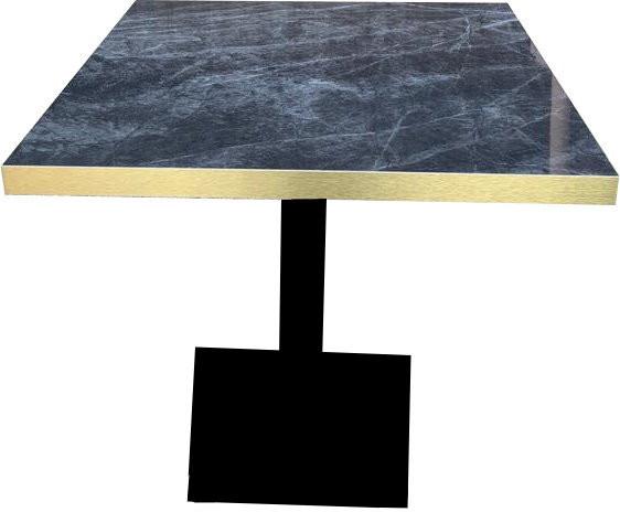 Tischkombination HPL Goldkante Marmor-Optik Dark Marble mit Flach04040
