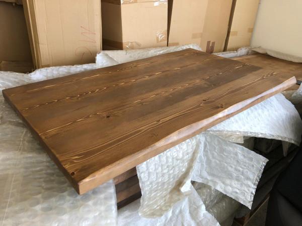 Sonderposten Tischplatte Ladin Walnuss 120x75 cm Fichte Echtholz Baumkante