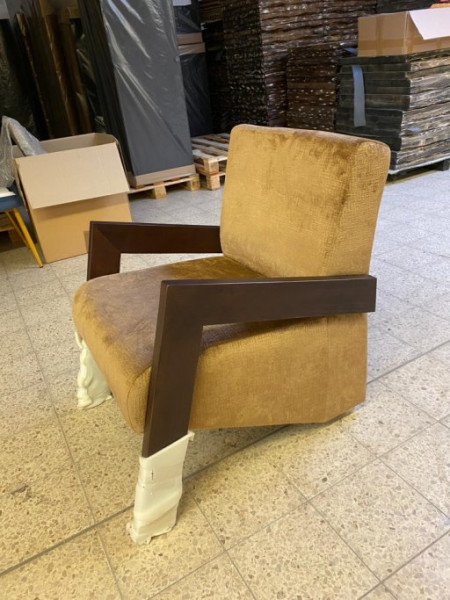 "Sonderposten Lounge Sessel "" Hilton "" in Samtbezug Gold"