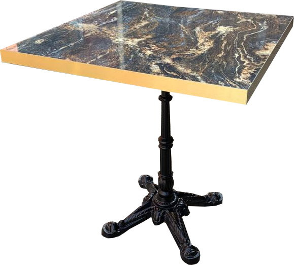 Tischkombination HPL Goldkante Marmor-Optik Marble Space mit London 04