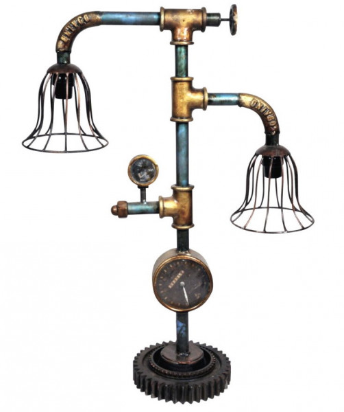 "Tisch-Lampe Leuchte Pipe Steampunk Industrial Industrie Design Retro Vintage Art ""Vintage Light"""
